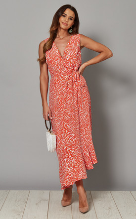 Fiona Asymmetric Wrap Front Maxi Dress In Red Print by Blue Vanilla Product photo