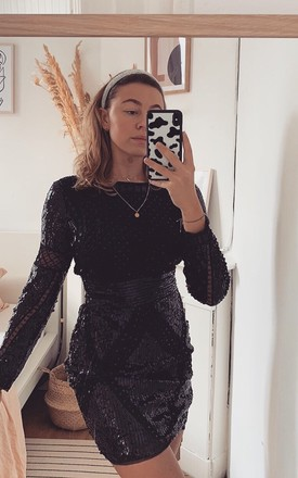 The Soho Sequin Dress In Black by Brunch Club Girls. Product photo