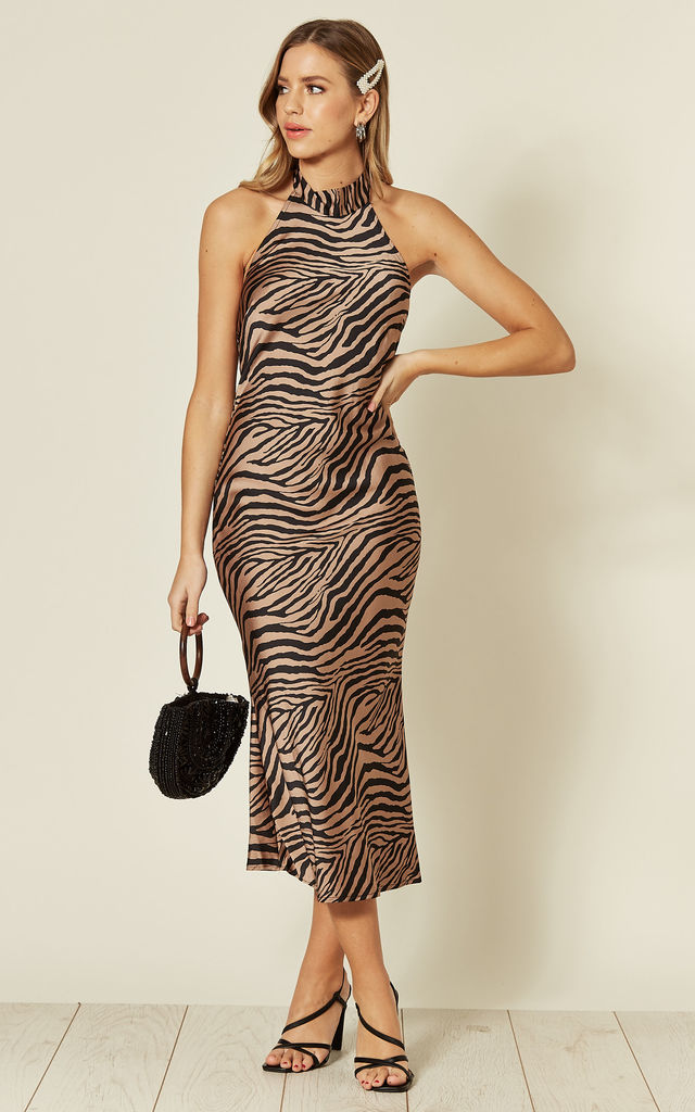 Kiera Halter Neck Midi Slip Dress in Zebra Print by SlayTwins