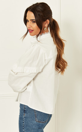High Neck Shirt With Pleated Detail in White by Bella and Blue