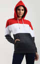 Zara Oversized Hooded Sweatshirt in Red White and Charcoal Stripe by Oops Fashion