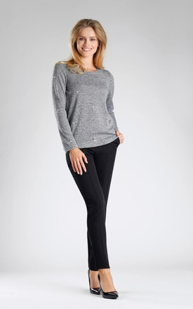 Grey Jumper with Silver Eyelet Detail by By Ooh La La