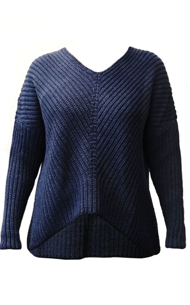 Loose Fit V Neck Jumper in Navy by Lanti