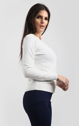 Alexia Button Front Knitted Top in White by Oops Fashion