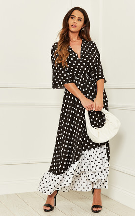 Black/White Polka Dot Plunge Maxi Dress by Bella and Blue Product photo
