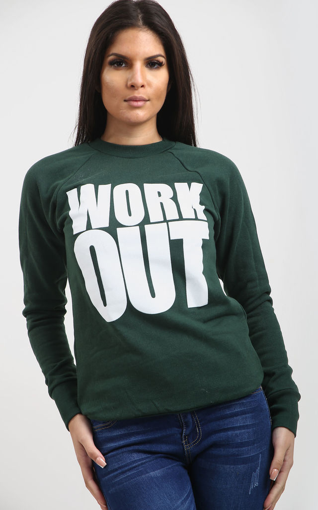 Louisa Bottle Green Sweatshirt with Work Out Slogan by Oops Fashion