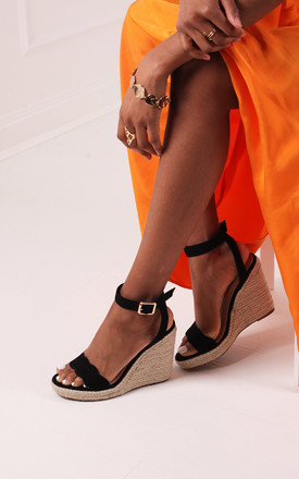 Mars Black Suede Rope Platform Wedge With Wavey Front Strap by Linzi Product photo