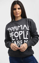 Lisa Normal People Scare Me Sweatshirt In Charcoal by Oops Fashion