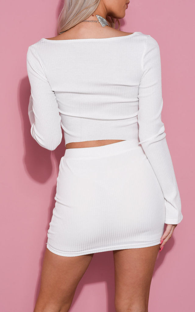 Ribbed Stretch Waist Mini Skirt in White by LILY LULU FASHION