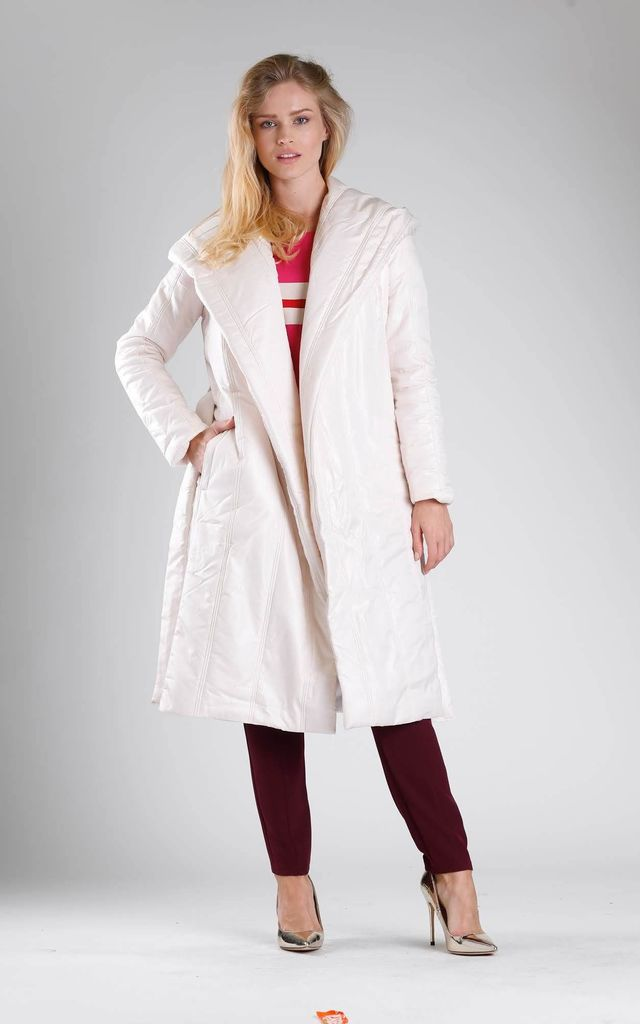 Padded Coat with Hood in Beige by By Ooh La La