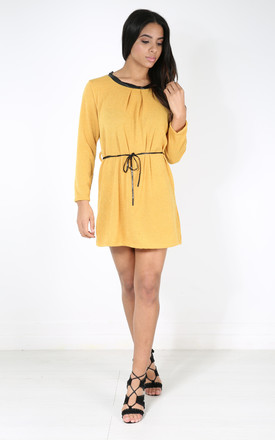 Millie Mustard Italian Knit Mini Dress with Long Sleeves by Oops Fashion