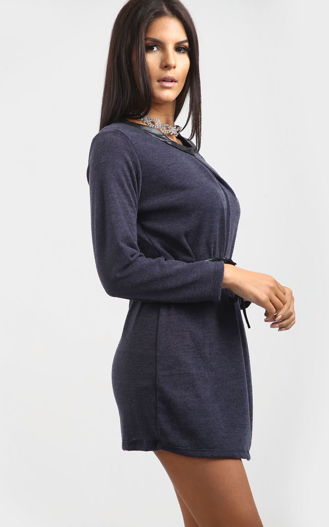 Millie Charcoal Grey Italian Knit Mini Dress with Long Sleeves by Oops Fashion