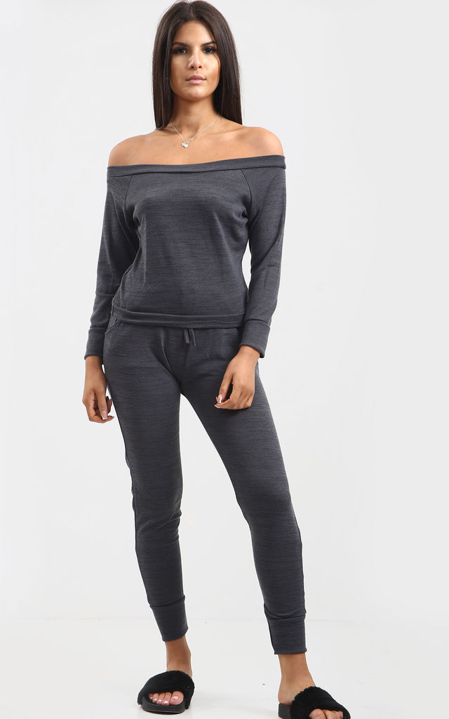 Paige Off Shoulder Marl Knit Coord Set In Charcoal Marl by Oops Fashion