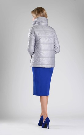 Grey Padded Jacket with High Collar by By Ooh La La