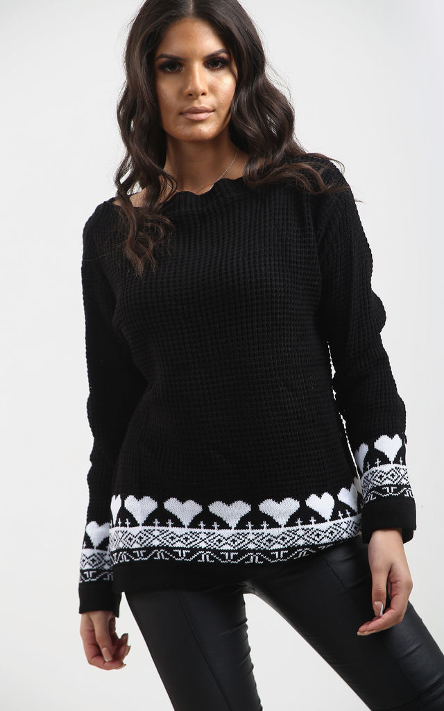Amber Heart Print Jumper In Black by Oops Fashion