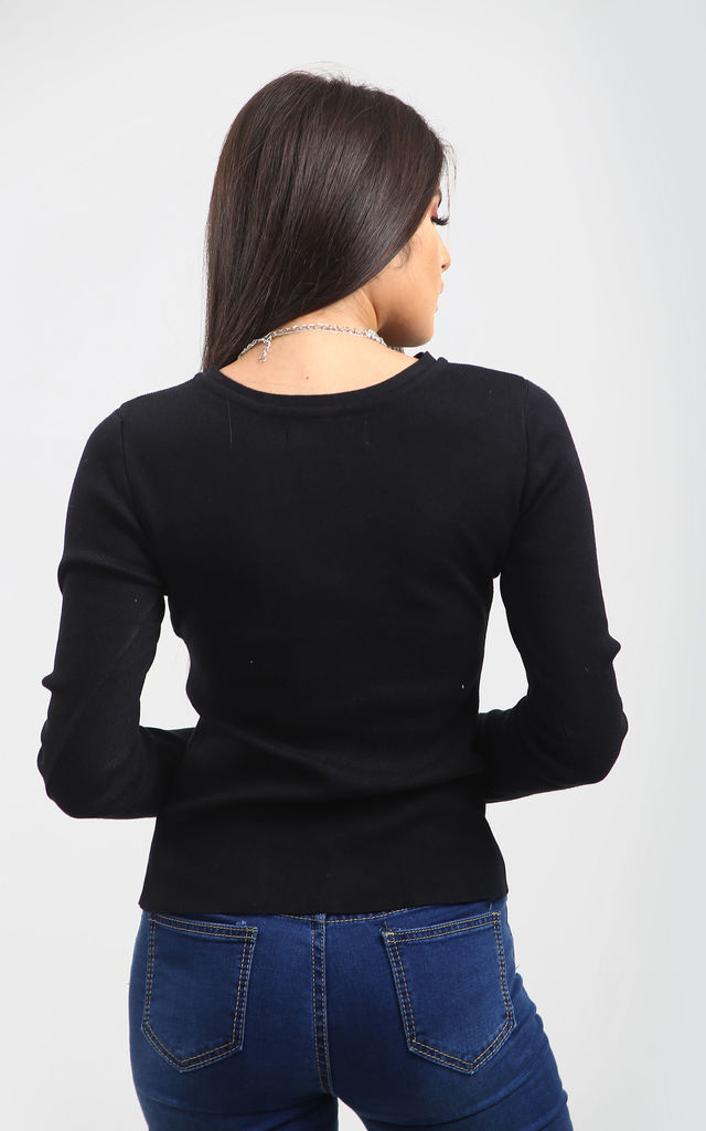 Amelie Black Ribbed Knit Jumper with Choker Neck by Oops Fashion