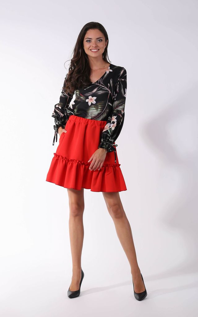 Mini Skirt with Pockets in Red by By Ooh La La