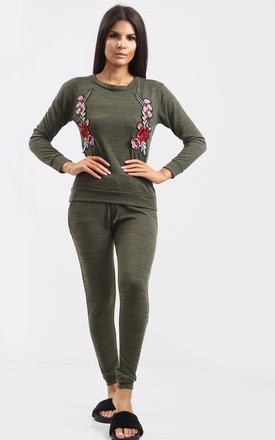 Ria Khaki Floral Embroidered Co-ord | Trousers & Top by Oops Fashion