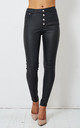 Morgan Black Wax Coated Button Front Jeans by love frontrow