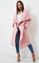 Naomi Waterfall Shawl Collar Coat In Pink by love frontrow