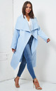 Naomi Waterfall Shawl Collar Coat In Baby Blue by love frontrow