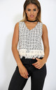 Casadie Cross Back Fringed Top In Black/Cream Marl by Oops Fashion