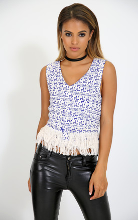 Casadie Cross Back Fringed Top In Royal Blue Marl by Oops Fashion