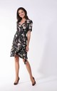 Wrap Mini Dress with Frills in Dark Floral Print by By Ooh La La