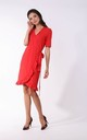 Wrap Mini Dress with Frills in Red by By Ooh La La