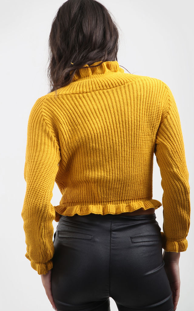 Aria Mustard Jumper with Frill Sleeves by Oops Fashion