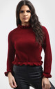 Aria Wine Red Jumper with Frill Sleeves by Oops Fashion