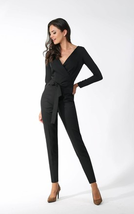 Jumpsuit with Wrap Front in Black by By Ooh La La