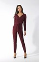 Jumpsuit with Wrap Front in Maroon by By Ooh La La