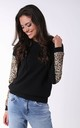 Black Hoodie with Panther Print Sleeves by By Ooh La La