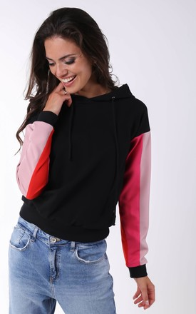 Black Hoodie with Pink & Red Sleeves by By Ooh La La