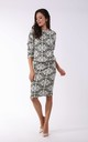 Knitted Pencil Dress in Grey/White Print by By Ooh La La