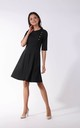 Black Cropped Sleeve Flared Dress with Buttons Detail by By Ooh La La