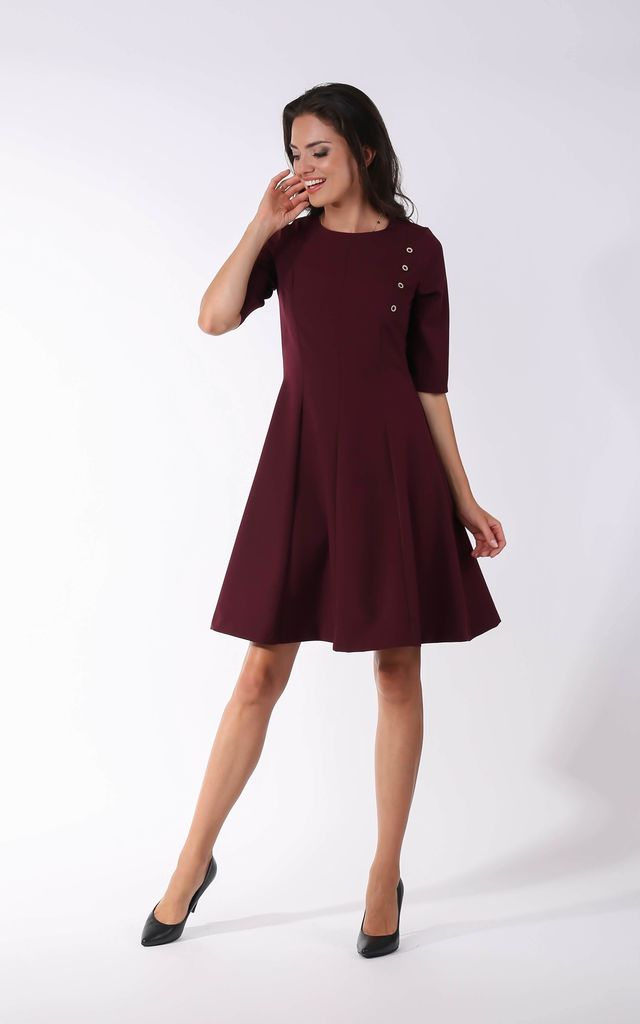 Maroon Cropped Sleeve Flared Dress with Buttons Detail by By Ooh La La