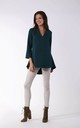 Long Sleeve V Neck Blouse in Green by By Ooh La La