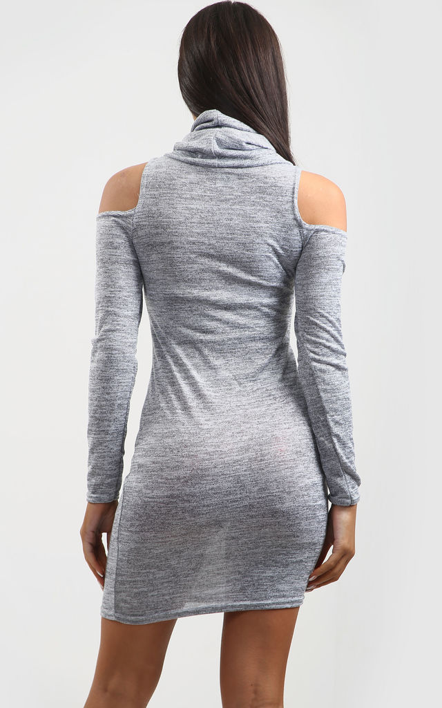 Lisa Cold Shoulder Knitted Mini Dress In Grey by Oops Fashion