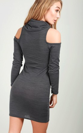 Lisa Cold Shoulder Knitted Mini Dress In Charcoal by Oops Fashion