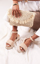 Dynasty Espadrille Style Flatforms in Nude Suede by Linzi