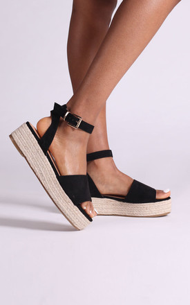 Dynasty Espadrille Style Flatforms in Black Suede by Linzi