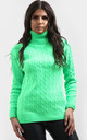 Roll Neck Cable Knit Jumper In Mint by Oops Fashion