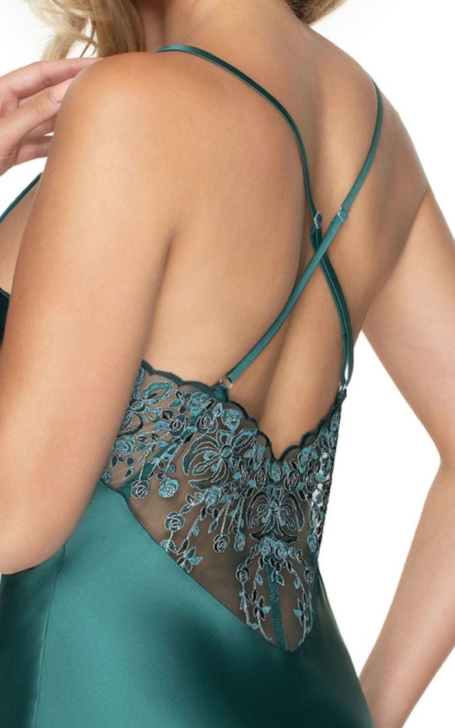 Emerald III Green Satin Nightdress by BB Lingerie