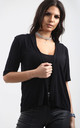 Jess Front Open Cardigan In Black by Oops Fashion
