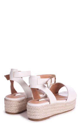 Dynasty Espadrille Style Flatforms in Tan Suede/White Lizard by Linzi