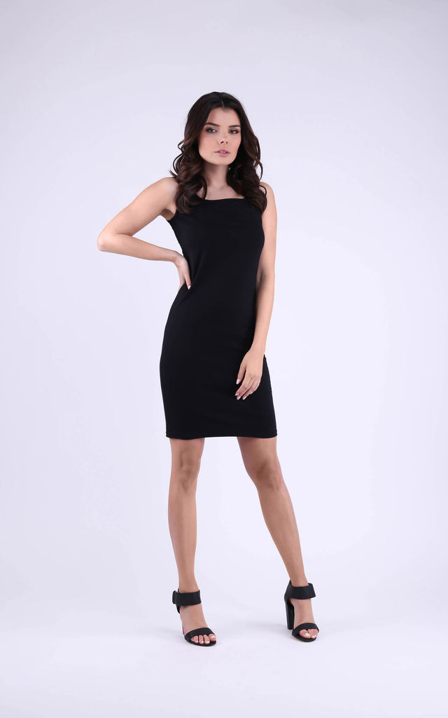 Cotton Sleeveless Mini Dress in Black by Bergamo