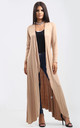 Long Waterfall Cardigan In Camel by Oops Fashion
