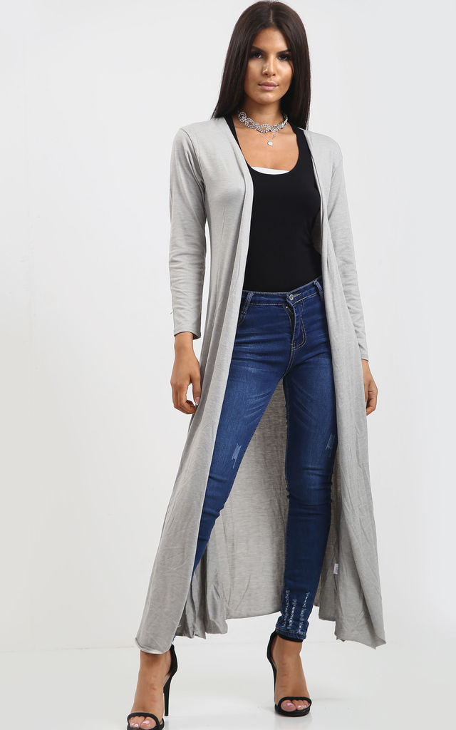 Long Waterfall Cardigan In Grey by Oops Fashion